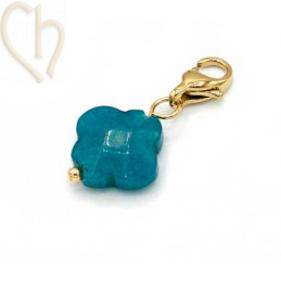 Charms clover4 EMERALD GREEN with steel clasp Gold Plated