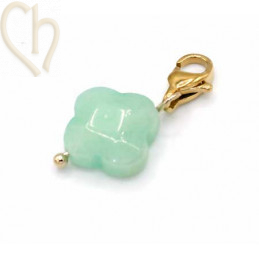 Charms clover4 LIGHT GREEN with steel clasp Gold Plated