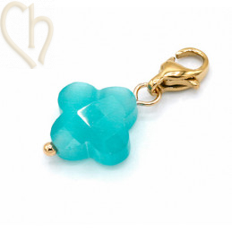 Charms clover4 AZORE met edelstaal slotje goldplated