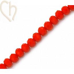 Ronde platte gefacetteerde glaskraal 6*4mm kleur Oranje Glow