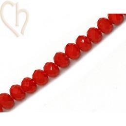 Ronde platte gefacetteerde glaskraal 6*4mm kleur Rood