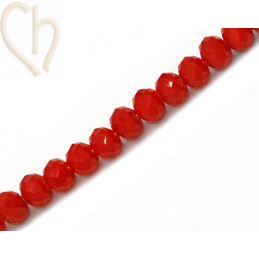 Round flattened facetted glasbead 6*4mm color Red