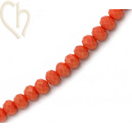 Ronde platte gefacetteerde glaskraal 6*4mm kleur Peach