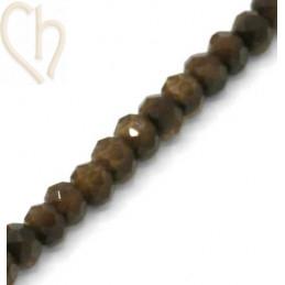 Ronde platte gefacetteerde glaskraal 6*4mm kleur Brown