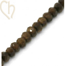 Round flattened facetted glasbead 6*4mm color Brown