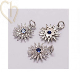 Charms Stainless Steel Rhodium Sun 17mm