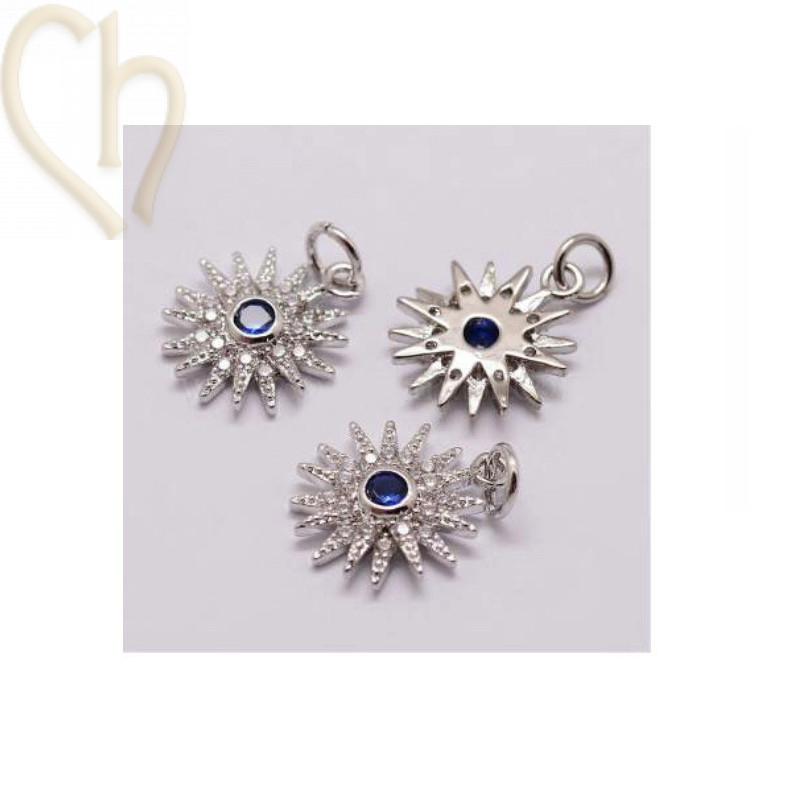Charms edelstaal Rhodium zon 17mm