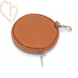Leather purse wallet round with clip. color : Cognac