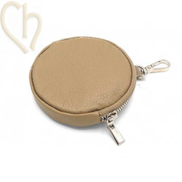 Leather purse wallet round...