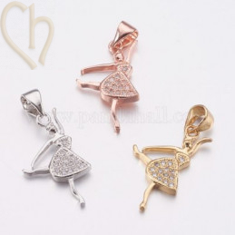 Charms ballerina 22mm with strass rhinestones