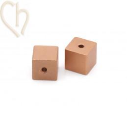 Aluminium kubus 8mm kraal Rose Gold