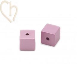 Aluminium annodised cube bead 8mm Pink