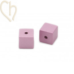 Aluminium kubus 8mm kraal Roze