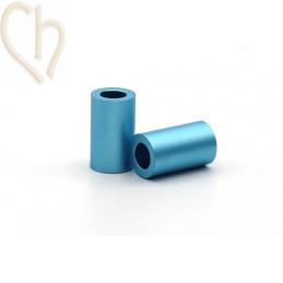 Aluminium anodised cilinder bead 6mm light blue