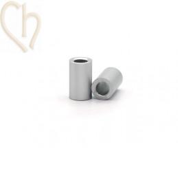 Aluminium anodized cilinder bead 6mm silver