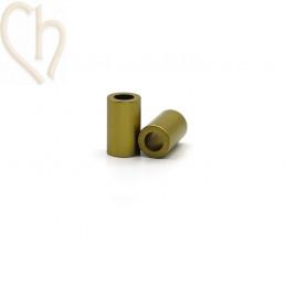 Aluminium anodized cilinder bead 6mm mustard yellow