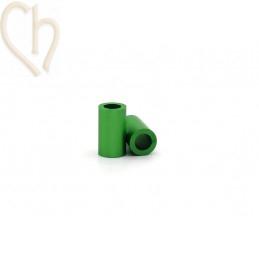 Aluminium anodized cilinder bead 6mm green