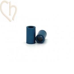 Aluminium anodized cilinder bead 6mm petrol blue