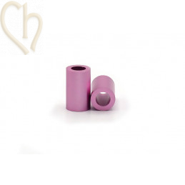 Aluminium anodized cilinder bead 6mm Pink