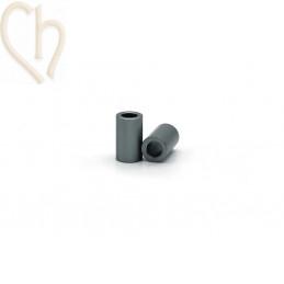 Aluminium anodized cilinder bead 6mm dark grey