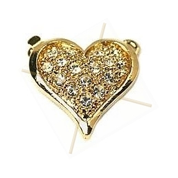 """clasp 1-row """"heart"""" with strass"""