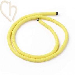 Heishi rondellen 4mm Geel String 40 cm.