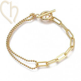 bracelet duo chain stainless steel 19cm gold plated