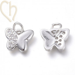 Charms butterfly 10mm with strass Rhodium