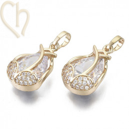 Charms traan druppel 20mm met strass Gold Plated
