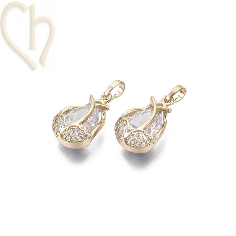 Charms teardrop 20mm with strass Gold Plated