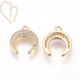Charms horn 13mm met strass...