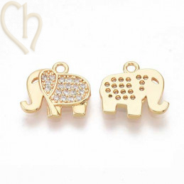 Charms elephant 12mm with strass Rhodium