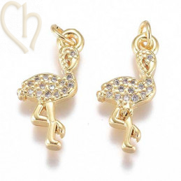 Charms flamingo 14mm with strass Rhodium