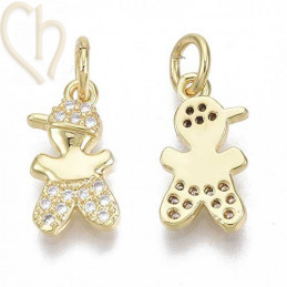 Charms boy 14mm met strass Gold Plated