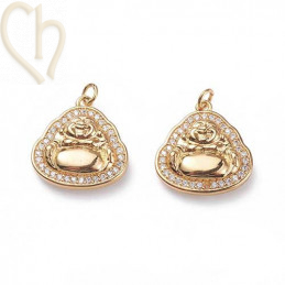 Charms buddha 15mm met strass Gold Plated