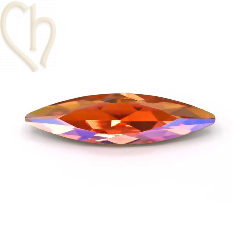 Slim Navette Aurora Crystal 35mm Light Peach Shimmer