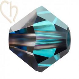 Preciosa Crystal Rondelle Bead 4mm Bermuda Blue
