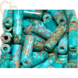 Tube 13*4mm natural stone - Jaspe Imperial Turquoise