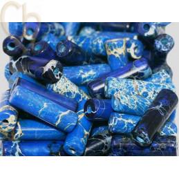 Tube 13*4mm natural stone - Jaspe Imperial bleu