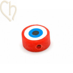 """Polymere bead rond """"eye""""..."""