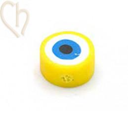 """Polymeer kraal rond """"eye""""  10mm Geel"""