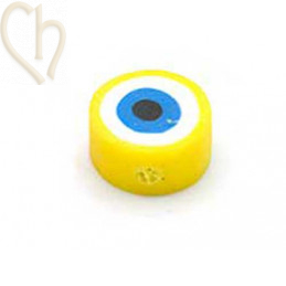 """Polymere bead rond """"eye""""  10mm Yellow"""