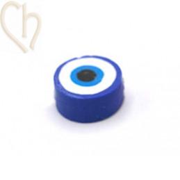 "Polymeer kraal rond ""eye""  10mm Blauw"