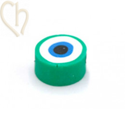 """Polymere bead rond """"eye"""" 10mm Green"""