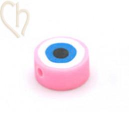 """Polymeer kraal rond """"eye""""  10mm Roze"""