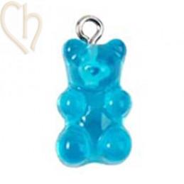 Beertje hanger gummibeer  20mm Turquoise