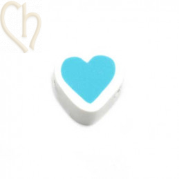 Hartje polymeer 12*6mm Wit Turquoise