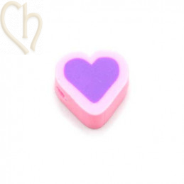 Heart in Polymere 10mm Pink Purple