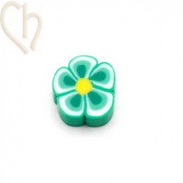 Flower in Polymere 10mm Green white