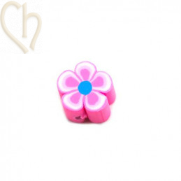 Flower in Polymere 10mm Pink white